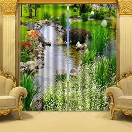 3D Wonderful Stream of Water and Green Plant Printed Natural Style Custom Curtain for Living Room