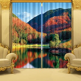 The Beautiful Scenery of Forest Printed 3D Curtain