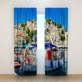 Amazing Ship in Water Printing Polyester 3D Curtain