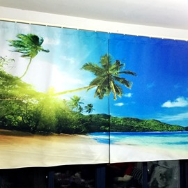 3D Palm Trees with Beautiful Beach Scenery Printed Polyester Decoration and Blackout Curtain
