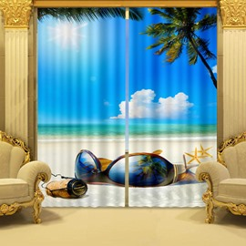Chic Big Sunglasses Blue Sky and Sea Printing Decorative and Blackout 3D Curtain