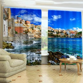 3D Broad and Romantic Buildings in Seaside Printed Decorative 3D Curtain