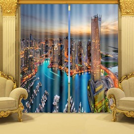 Vivid Sunset Seaside City Scenery Printed 3d Polyester Curtain