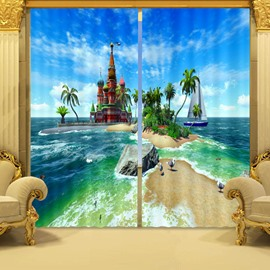 3D Dreamy Castles on the Sea Printed Living Room and Bedroom Blackout Curtain