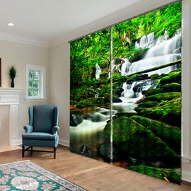 3D Wonderful Waterfalls and Green Trees Printed Natural Style Custom Curtain for Living Room