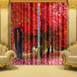 Gorgeous 3D Red Maple Trees Printed Thick Polyester Bedroom Shading Curtain