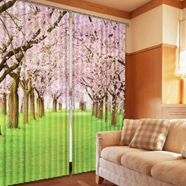 3D Pink Peach Trees and Thick Green Grass Printed 2 Panels Shading and Decorative Curtain