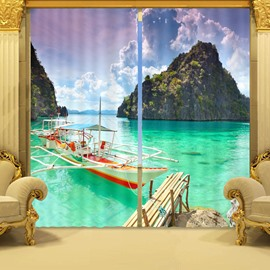 3D Clean Water and Wonderful Sea Scenery Printed Living Room Blackout Curtain