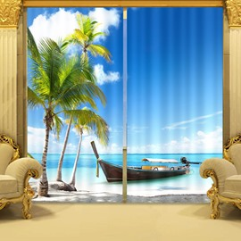 3D Coconut Trees and Boats on Blue Sea Printed Decoration and Blackout Curtain