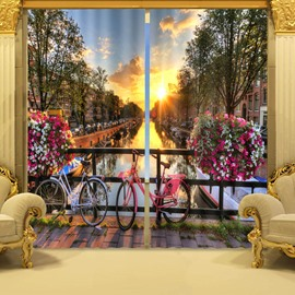 3D Exquisite City at Riverside in Sunset Printed Polyester Modern Style Custom Curtain