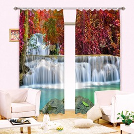 Amazing Red Leaves and Waterfalls Printing Blackout Custom 3D Curtain for Living Room