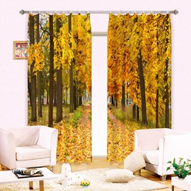 3D Mustard Yellow Trees and Leaves Printed Vivid Autumn Scenery Decorative and Blackout Curtain