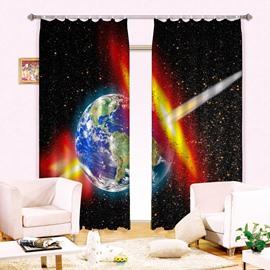 Magnificent Planet Stars Print Energy Saving 3D Curtain