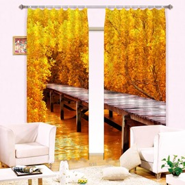 Mustard Yellow Hot Selling Timber Bridge Wood Print Blackout 3D Curtain