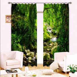 3D Creek and Green Trees Printed Natural Style Decoration and Blackout Polyester Curtain