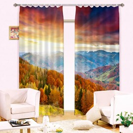 Splendid Forest Mountain Natural Scenery 2 Pieces Custom Living Room 3D Curtain