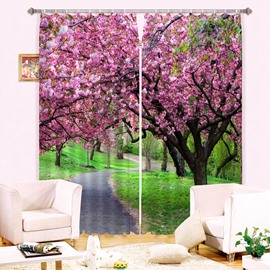 Beautiful Pink Trees and Green Grass 3D Printing Curtain