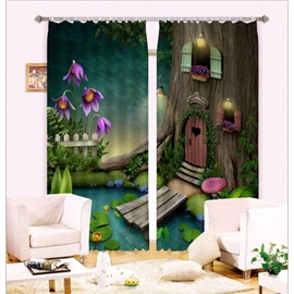 3D Cozy Tree House and Pond Printed Thick Polyester Fantastic Scenery Custom Room Curtain