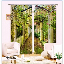 Beautiful Corridor with Green Vines Pastoral Style 2 Panels 3D Curtain