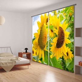 Vivid Sunflowers Versatile Printing Living Room and Bedroom 3D Blackout Curtain