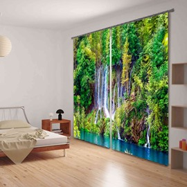 3D Beautiful Forest Stream Printed Thick Polyester Natural Scenery 2 Panels Custom Curtain