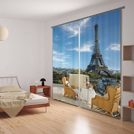 3D Eiffel Tower and Modern Chairs Printed Polyester Romantic Style Custom Decorative Curtain