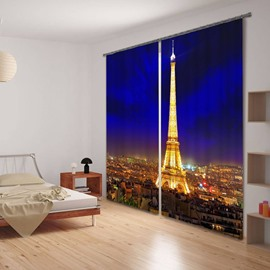 3D Eiffel Tower Night scene Printed Modern Style Polyester Custom Blackout Curtain