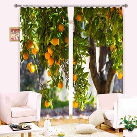 3D Apricot Tree Printed Thick Polyester 2 Panels Decorative and Blackout Curtain