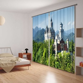 Modern Castles in Thick Forest Printing Custom Living Room 3D Curtain