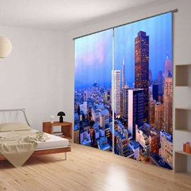 Modern and Fashion Thick Polyester Morning Urban Scenery Blackout 3D Curtain