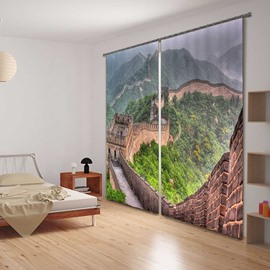 3D China Great Wall Print Functional Blackout Curtain