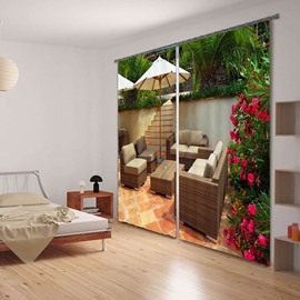 3D Leisure Sofas in the Yard with Red Rose Flowers Printed Functional Blackout Curtain