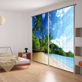 3D Palm Trees in Seaside Printed Beach Scenery Decoration and Blackout Polyester Curtain