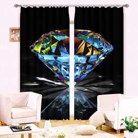 Wonderful Shining Diamond 2 Pieces Decorative and Blackout 3D Curtain