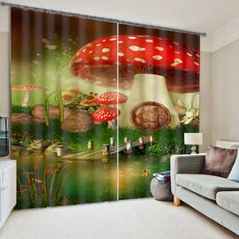 Wonderful and Dreamy Mushroom and Wooden Bridge Polyester 3D Blackout Curtain
