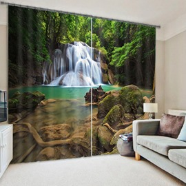 3D Wonderful Waterfalls Flowing in Deep Forest Printed Polyester Custom Curtain