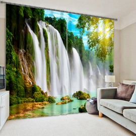 3D Turbulent Waterfall and Green Trees Printed Nature Scenery Blackout and Decoration Curtain