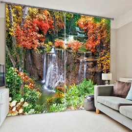 3D Flowing Water with Red Leaves Printed Polyester Decoration and Blackout Curtain