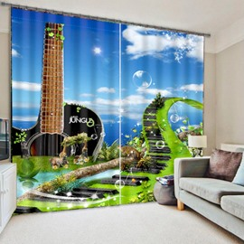 3D Music Bridge and Guitar Printed Creative Scenery Polyester Custom Decorative Curtain