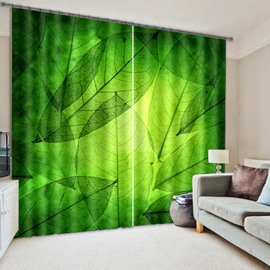 Refreshing Green Leaves Printed Living Room and Bedroom Blackout 3D Curtain