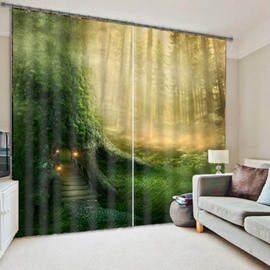 Cabin in Thick Green Forest Dreamy and Mysterious Scenery Creative Shading Curtain
