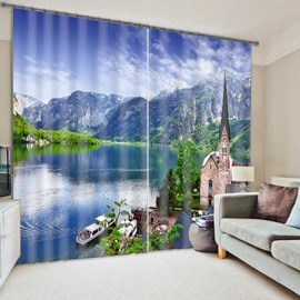 River and Mountain with Peaceful Harbor Decorative and Blackout Window Curtain