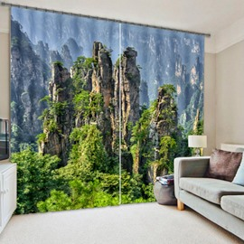 Green Mountains and Trees Natural Scenery Printed 3D Blackout and Decorative Curtain