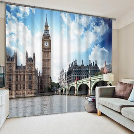 3D London Big Ben Printed Grand Buildings 2 Panels Living Room and Bedroom Curtain