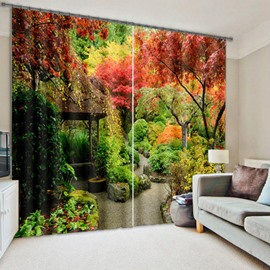 3D Colorful Trees Wonderful Autumn Scenery Printed Natural Style Custom Decoration Curtain