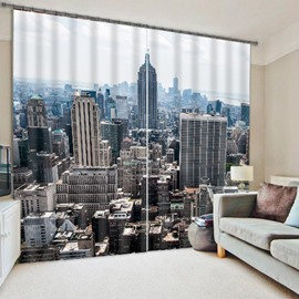 3D Polyester New York City Skyscrapers Printed Modern Style Decoration and Blackout Curtain