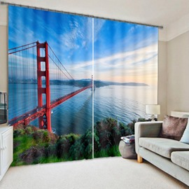 Splendid San Francisco Bridge Living Room and Bedroom Decorative Custom 3D Curtain