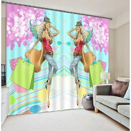 Kid's Cartoon Fashion Girl Print 3D Blackout Curtain