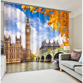 Classic Big Ben Printing Living Room and Bedroom 3D Blackout and Decorative Curtain