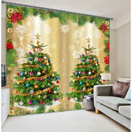 3D Wonderful Christmas Trees Printed Polyester Modern Style Blackout Home Decor Curtain